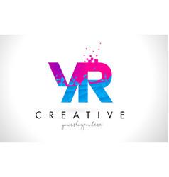 yr y r letter logo with shattered broken blue vector image