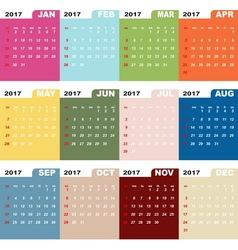 2017 calendar template color folder vector image