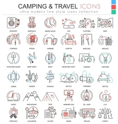 camping nature adventure ultra modern color vector image