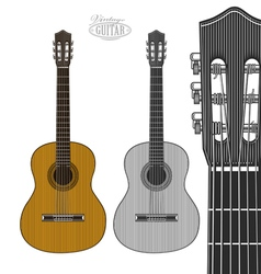 Guitar in engraving style vector