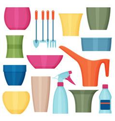 indoor gardening icons vector image