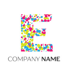 Letter e logo with blue yellow red particles vector
