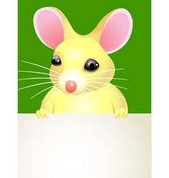 Mouse holding a blank sign vector image vector image
