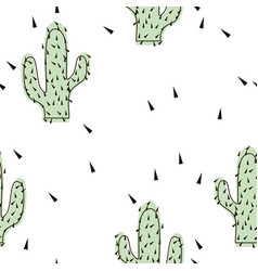 seamless abstract modern green cactus pattern on vector image