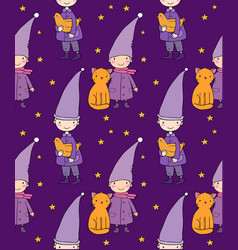 Seamless pattern with cute gnome cat and bird vector