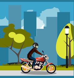 motorcyclist racing on bike in city vector image vector image
