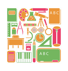 school icons and elements vector image