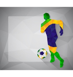 Brazilian football player with ball in triangles3 vector image