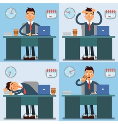 Businessman Working Day Businessman at Work vector image vector image