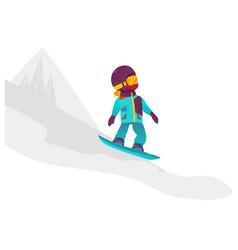 cartoon girl teen kid snowboarding vector image vector image