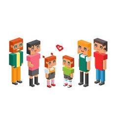 3d isometric family couple children kids people vector image vector image