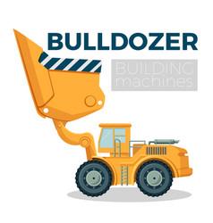 bulldozer building machine realistic logo design vector image
