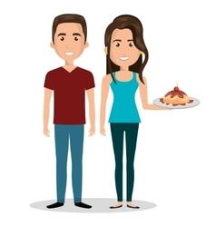 couple cartoon witn tasty cake design vector image
