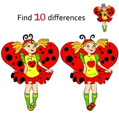 Find 10 differences girl in costume Ladybug vector image vector image