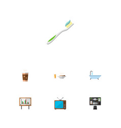 icon flat oneday set of shower old tv toothbrush vector image vector image