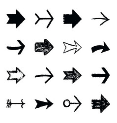 set arrow sign black texture paint vector image vector image