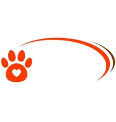 veterinarian background with paw and heart vector image