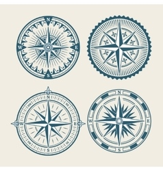 Vintage marine compass logo set vector image vector image