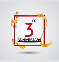 3 anniversary design with red color in square vector