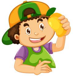 A boy with mango vector