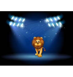 A lion at the center of the stage with spotlights vector image