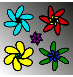 a set of flowers in childrens design vector image