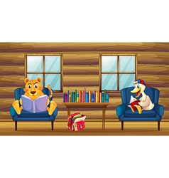 A tiger and a duck reading inside the house vector image