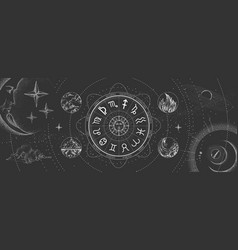 Astrology wheel with zodiac signs on outer space vector