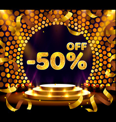 Banner 50 off with share discount percentage gold vector
