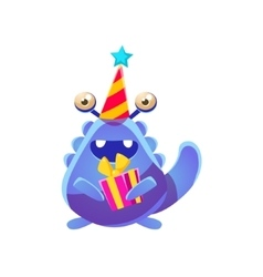 Blue toy monster in party hat with present vector