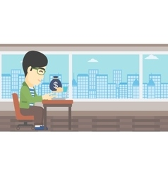 Businessman earning money from online business vector image