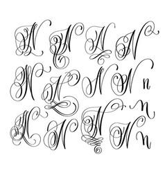 calligraphy lettering script font n set hand vector image