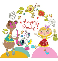 Cartoon color party with bear and girl vector image