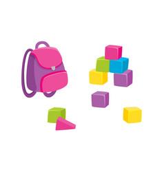 Cartoon school bag backpack and wooden blocks vector