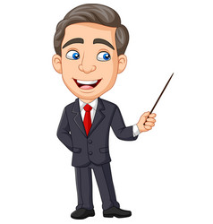 cartoon young businessman presenting with pointer vector image
