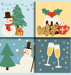 christmas card symbols for greeting banner vector image