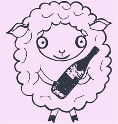 Christmas sheep with champagne vector image