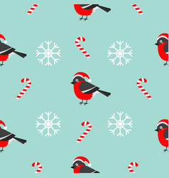 christmas snowflake candy cane bullfinch bird vector image