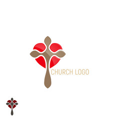 Church logo cross with heart vector