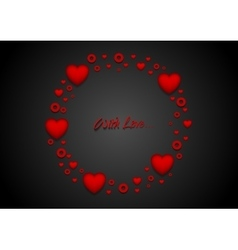 Circle from red hearts St Valentines Day design vector image