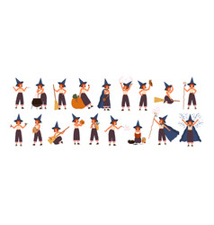 collection cute little witch in hat flying on vector image