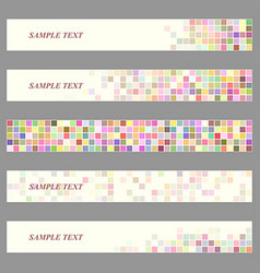 Colored square mosaic web banner template set vector
