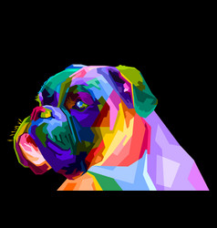 Colorful boxer dog on pop art style vector