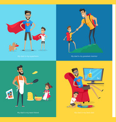 Cute father spends time with children collection vector