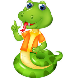 cute snake cartoon posing with smiling vector image