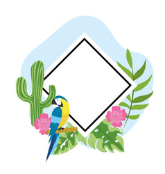 Diamond emblem with parrot and tropical flowers vector