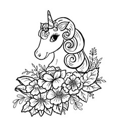 Doodle cute unicorn head vector