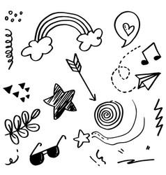 Doodle set elements black on white background vector