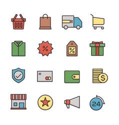 e-commerce business icon set outline flat design vector image