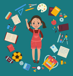 elementary or middle school girl with supplies vector image